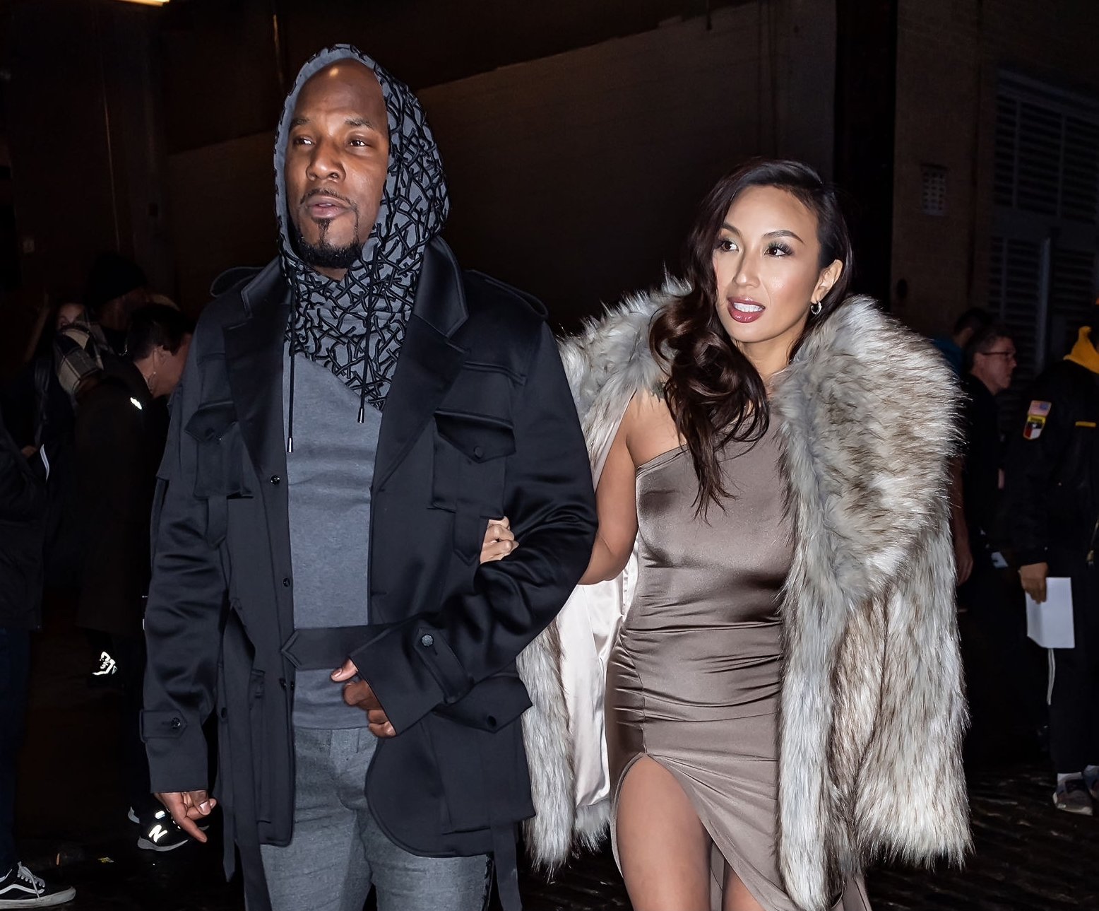 NEW YORK, NEW YORK - FEBRUARY 06: Rapper Jeezy and Jeannie Mai are seen leaving the Christian Siriano Fall Winter 2020 NYFW at Spring Studios on February 06, 2020 in New York City. (Photo by Gilbert Carrasquillo/GC Images)